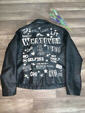 Atmosphere Juniors Leather Coat With Embossed Painted Sayings