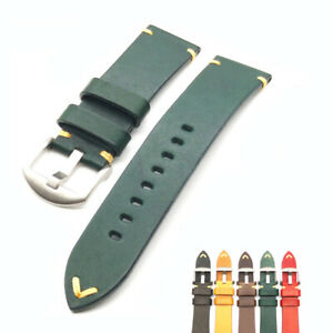 Watch Bands Cowhide Genuine Leather Wristwatch Straps Watch Parts 22mm Green