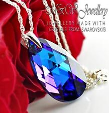 925 Silver Necklace Pear/Almond HELIOTROPE AB 28mm Crystals From Swarovski®