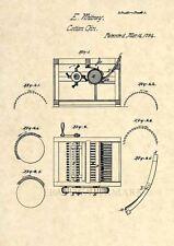 Official Eli Whitney Cotton Gin US Patent Art Print - Vintage Antique 1794 - 240