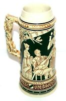 "10"" Vintage Large German Collectible Beer Stein Heitere Gesellschaft Missing Lid"
