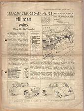 Hillman Minx Mark III 1949 Model Motor Trader Service Data No. 158 1949