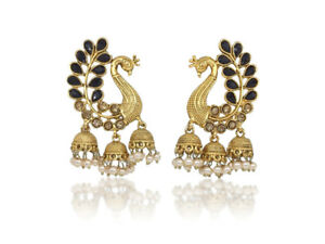 Indian Jhumka Statement Peacock Earrings Bollywood Designer Gold Plated Jewelry