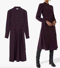 WAREHOUSE Ruffle Shirt Midi Dress In Berry Sizes  6 to 18