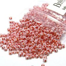 300 Glass 8/0 Red & White Candy Cane Striped Opaque Little 3mm #8 Seed Beads