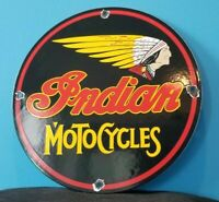 VINTAGE INDIAN MOTORCYCLE PORCELAIN AMERICAN CHIEF GAS SERVICE STATION PUMP SIGN