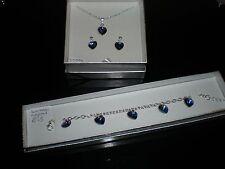 Crystal hearts, Cadburys purple,  bridesmaids jewellery set,made using swarovski