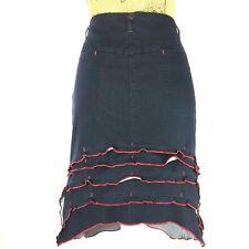 Marithe Francois Girbaud 29 Pencil Skirt Dark Blue Red Ruffle Bustle High Low M