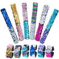 12 Pack Little Mermaid Magic Charm Reversible Sequin Slap Bracelets, Birthd M4Y7