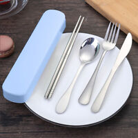 Portable Spoon Fork Chopsticks Dinnerware Set Outdoor Camping Metal Tableware