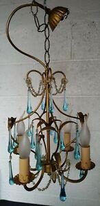 Vintage Blue Glass Drops Gilt Chandelier Light Macaroni Beads