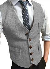 Busines Men Vest Herringbone Tweed Waistcoat Vintage Herringbone Wool Groom Slim