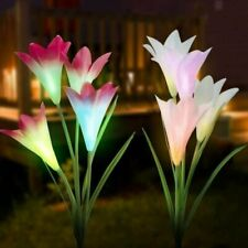 2Pack Solar Lily Flowers LED Light Waterproof Outdoor Garden Yard Lawn Landscape