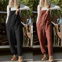 ZANZEA Women Bib Pants Trousers Jumpsuit Playsuit Romper Dungarees Maxi Overalls