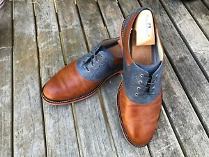 Cole Haan Mens 12D Tan/Navy Leather Oxford Dress Shoe