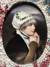Kpm Plaque Quality 6� X 8� Hand Painted Porcelain Plaque, Signed and Framed