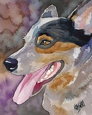 Australian Cattle Dog Art Print Signed by Artist Ron Krajewski Painting 8x10