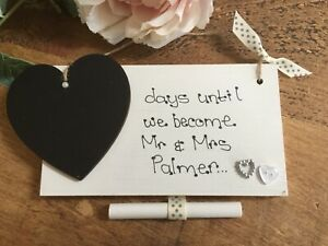 Personalised countdown wedding chalkboard sign engagement gift Mr & Mrs silver