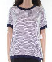 Maison Jules Womens Tops Deep Blue Size XL Knit Honeycomb Crewneck $59- 262