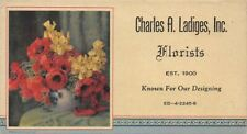 Charles A Ladiges Inc Florists Flowers small advertising blotter