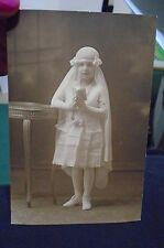 Girl First Communion dress antique photo Veil Ribbons Rosary Book 1900s Catholic