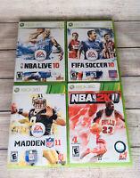 Xbox 360 NBA 2k Game Lot Madden FIFA NFL Games Soccer Football 10 11