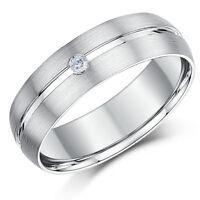 9 Ct Anillo De Boda Oro Blanco Diamante Banda Mate Y Pulido 6mm