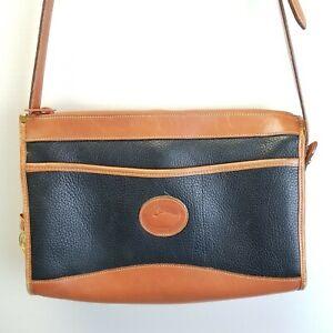 Vintage Dooney & Bourke Black Brown Pebbled All Weather Leather Crossbody Purse
