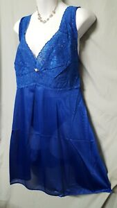 """Amourseuse Blue Babydoll Nightgown Sexy Stretch Top Plus 2X  52"""" BUST"""