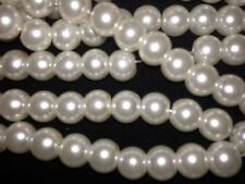 GLASS PEARLS BEADS 8 MM OFF WHITE SPACERS CHARMS EARRINGS BRACELETS NECKLACE