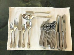 Lot Gingko 18/10 Flatware Lafayette Hammered Mirror Stainless See Details
