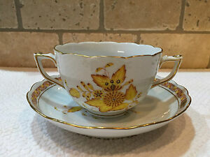 Herend Chinese Bouquet-Yellow-Soup Cup & Saucer Set