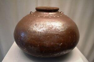 """Antique Burmese Ceramic Jar From Martaban Pot Vase Copper Color Glaze Decorativ"""""""