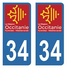 Autocollant Stickers plaque d'immatriculation véhicule département 34 Hérault