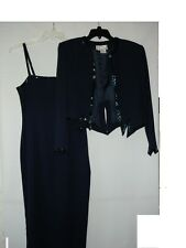 Ashlee Lauren 2 Piece Beaded Navy Blue Evening Prom Dress Blazer Size 8