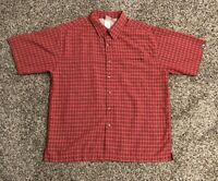 The North Face Mens S/S Button Down Shirt Large Red Checkered Zipper Pocket EUC