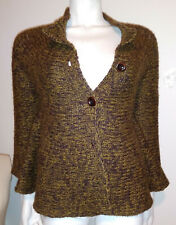 DRIES VAN NOTEN Chunky Knit High Neck Flared Cardigan Sweater in Purple & Gold S