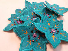 Set of 10 Flower Beaded Teal Green Blue Birthday Crafts Card Making Motif #17R92