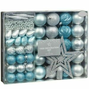 Christmas Tree Decoration Set Of Gorgeous Bauble And Beads Blue red - 50 Pieces