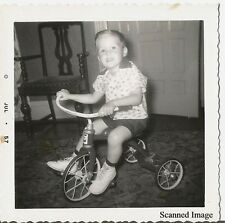 Found Black & White Family Photo - Young Boy on Tri-Cycle July 1957 - Vintage