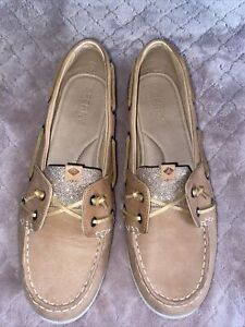 Sperry TopSider Gold Glitter/Sparkle Boat Shoes 10M Tan/Beige Slip On / Flats