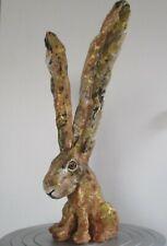 Hare sculpture ,big ears, handmade, 1ft or 35cm tall,