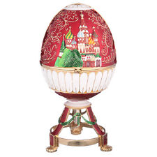 Russian Faberge Egg / Music Box Moscow Saint-Basil's Cathedral 6.9'' 17.5cm red