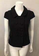 Banana Republic Black Cotton Short Sleeve Double Breasted Blazer Jacket Size 0