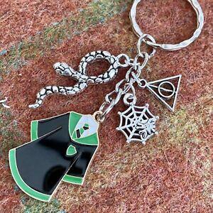 Harry Potter inspired Keyring Keychain Slytherin style Robes, Snake, Web Hallows