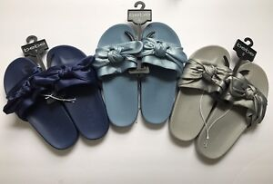Bebe Womens Satin Slides Fierra Bow Sandals New Flip Flops Blue Grey 7 9 Silver