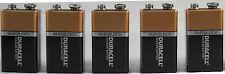Brand New 5 Pcs 9V 9 Volt 9 V Duracell CopperTop Battery Expires 2020