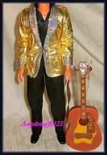 Rock Star Ken outfit Black with gold jacket complete with guitar Fits ken