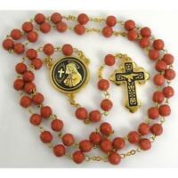 Damascene Gold Rosary Cross Virgin Mary Red Beads by Midas of Toledo Spain