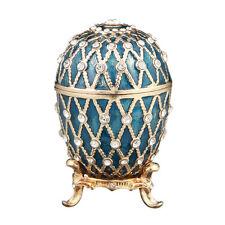 Decorative Faberge Egg / Trinket Jewel Box with Grid 2.6'' (6.7 cm) blue
